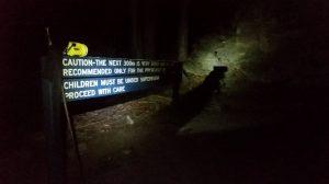 Night walk to escarpment